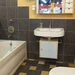 A sample bathroom in a showroom at John J. Cahill Inc. in Evanston, IL