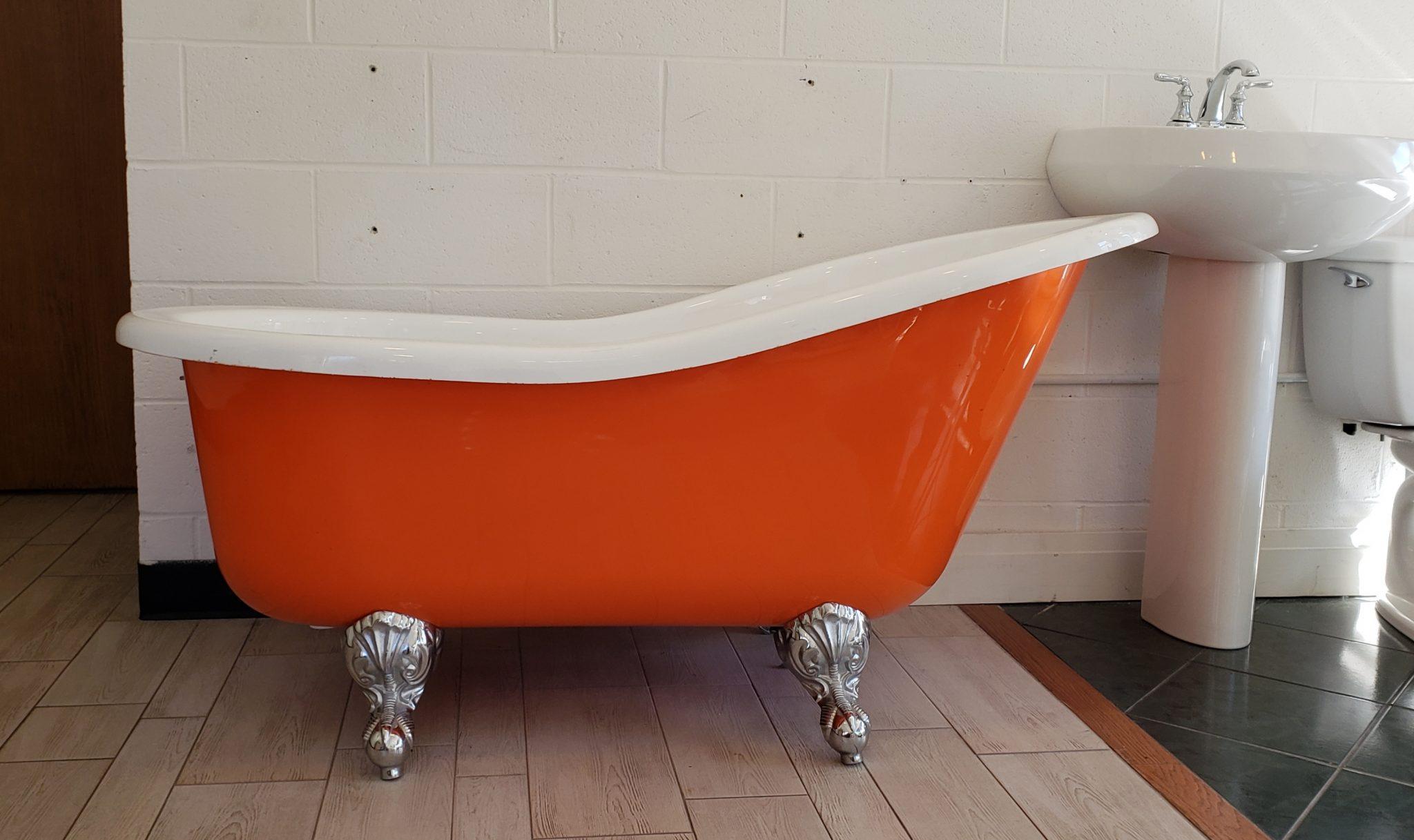 An orange clawfoot tub.