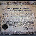 Old Master Plumber Certificate