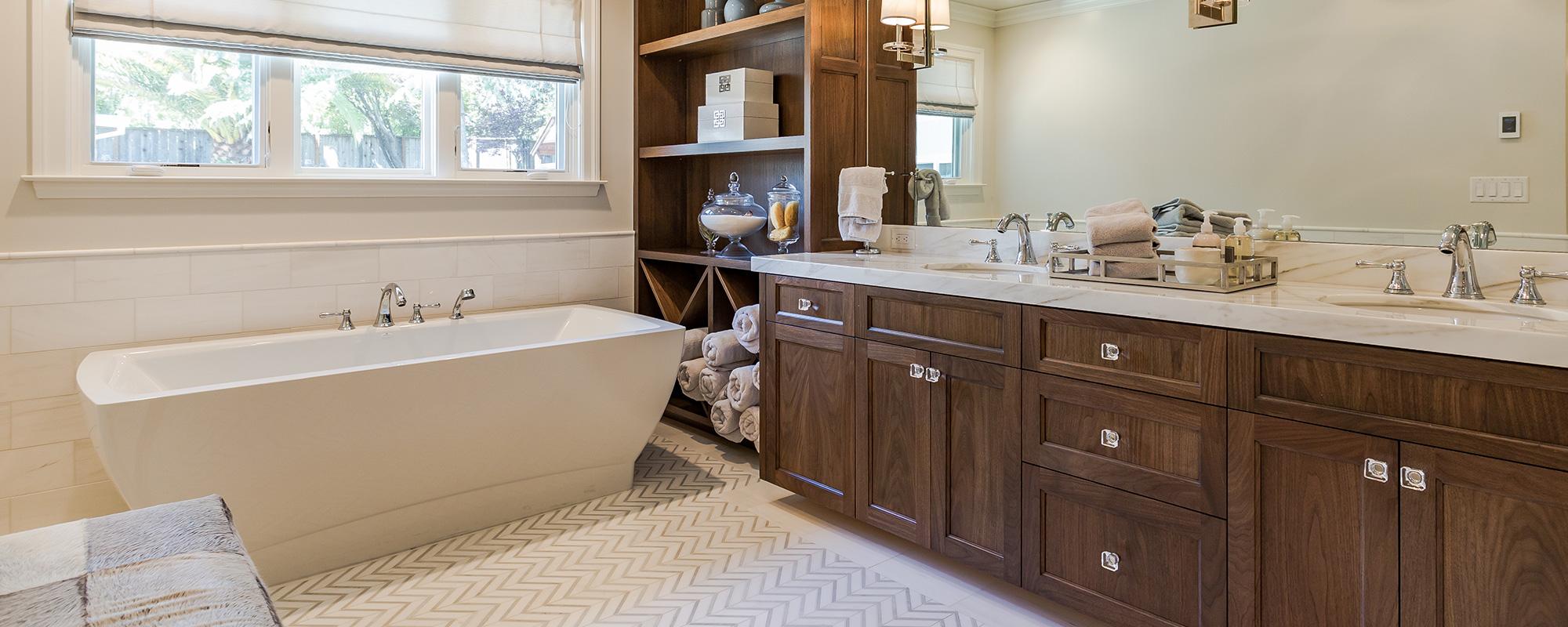 Wooden Vanity in Bathroom