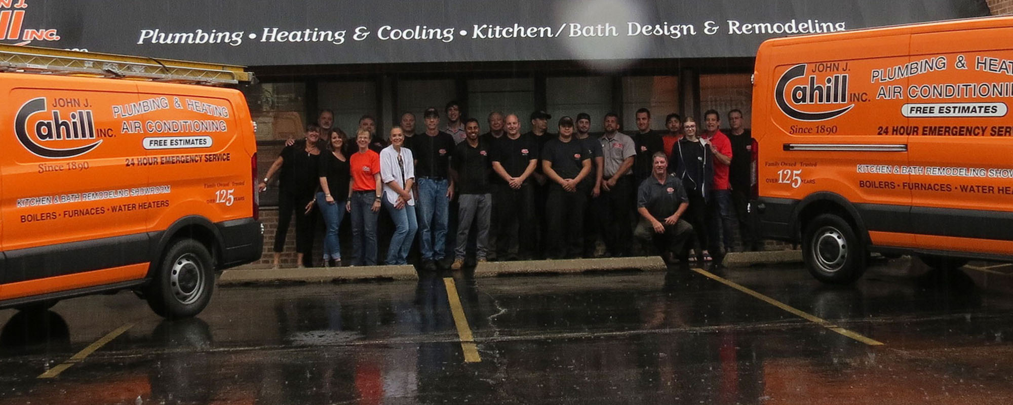 A group photo of the team at furnace repair company John J. Cahill Inc. servicing Chicago, IL