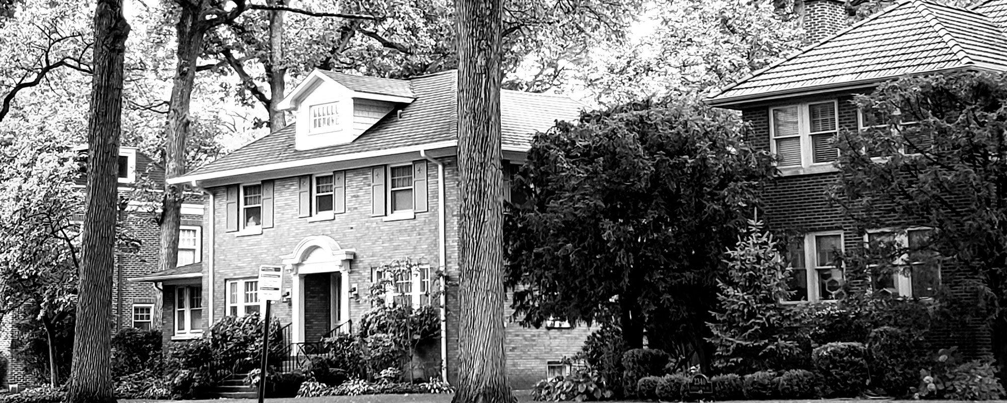 Black and White Photo of a Nice Neighborhood
